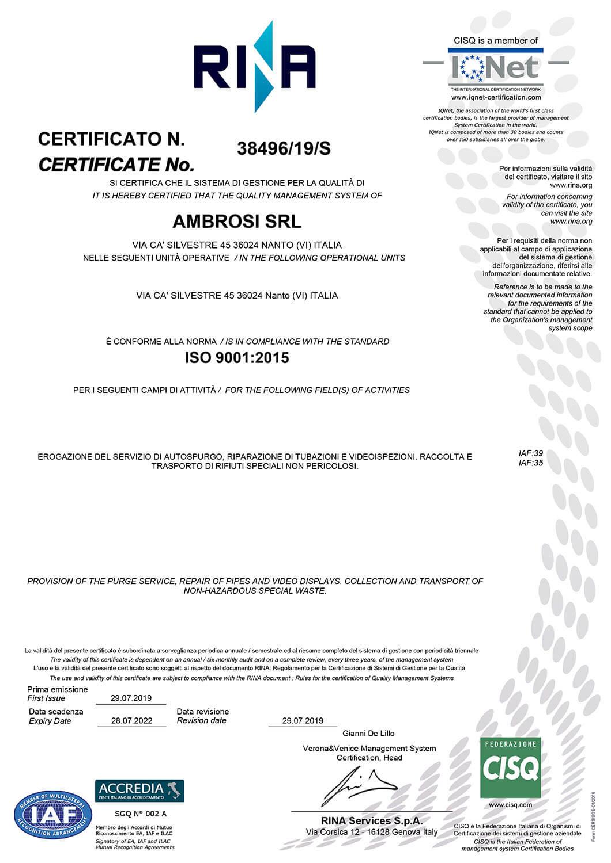 Ambrosi Srl Certificato ISO 9001 anno 2019
