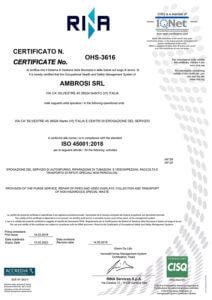 Ambrosi Srl Certificato ISO45001 anno 2019